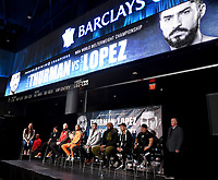 BROOKLYN - JANUARY 24: (L-R) Fox Sports' Heidi Androl, and boxers Claudio Marrero, Adam Kownacki, Keith Thurman, Josesito Lopez, Gerald Washington, and Tugstsogt Nyambayar attend a press conference for the January 26 PBC on FOX fight card at Barclays Arena on January 24, 2019, in Brooklyn, New York. (Photo by Frank Micelotta/Fox Sports/PictureGroup)
