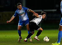 John Rooney (L) of Barrow challenges Jack Munns during Dover Athletic vs Barrow, Vanarama National League Football at the Crabble Athletic Ground on 4th February 2020