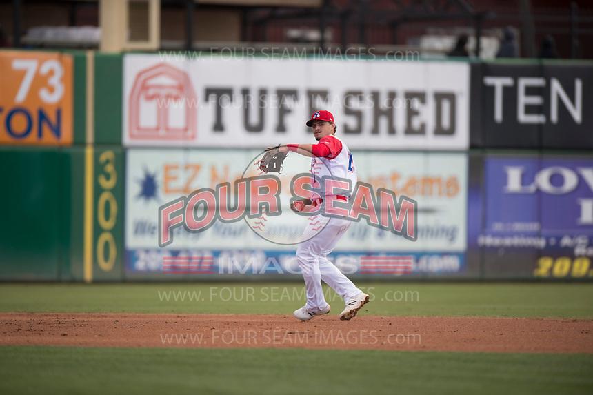 Stockton Ports shortstop Jeremy Eierman (11) during a California League game against the San Jose Giants on April 9, 2019 in Stockton, California. San Jose defeated Stockton 4-3. (Zachary Lucy/Four Seam Images)