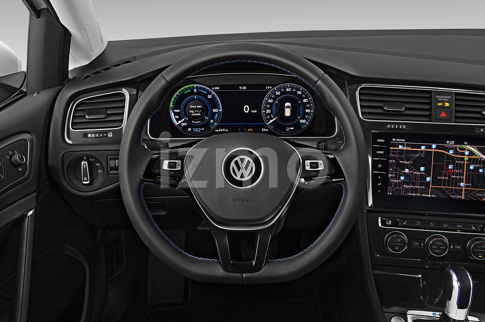 Car pictures of steering wheel view of a 2019 Volkswagen e-Golf SEL Premium 5 Door Hatchback