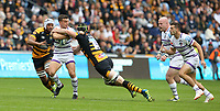 Leicester Tigers' George Ford is tackled by  Wasps' James Gaskell <br /> <br /> Photographer Stephen White/CameraSport<br /> <br /> Gallagher Premiership - Wasps v Leicester Tigers - Sunday 16th September 2018 - Ricoh Arena - Coventry<br /> <br /> World Copyright &copy; 2018 CameraSport. All rights reserved. 43 Linden Ave. Countesthorpe. Leicester. England. LE8 5PG - Tel: +44 (0) 116 277 4147 - admin@camerasport.com - www.camerasport.com