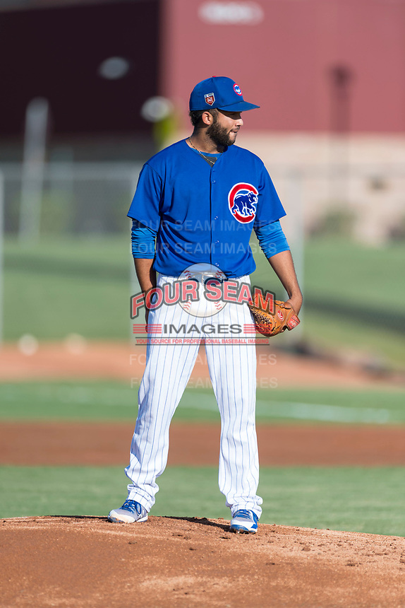 AZL Cubs 1 starting pitcher Jesus Tejada (55) looks in for the sign during an Arizona League game against the AZL Indians 1 at Sloan Park on August 27, 2018 in Mesa, Arizona. The AZL Cubs 1 defeated the AZL Indians 1 by a score of 3-2. (Zachary Lucy/Four Seam Images)
