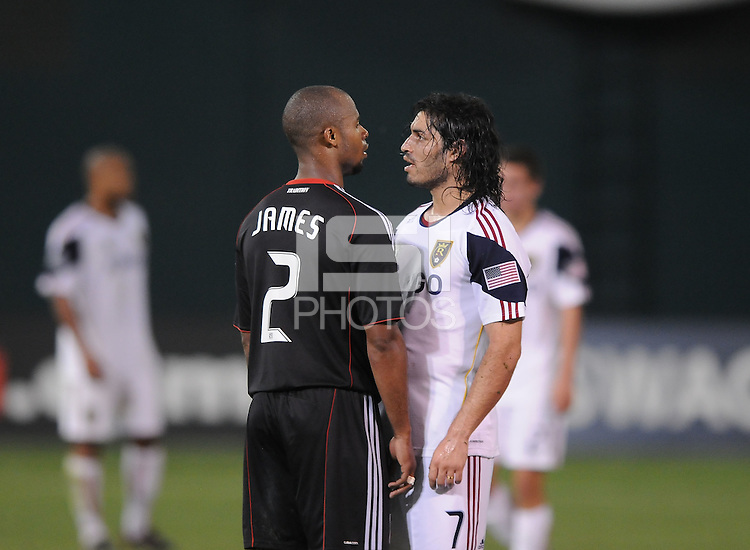 DC United defender Julius James (2) gets head to head with Real Salt Lake forward Faban Espindola (7)   DC United defeated Real Salt Lake 2-1 to advance to the round of 16 of the  U.S. Open Cup at RFK Stadium, Wednesday  June 2  2010.