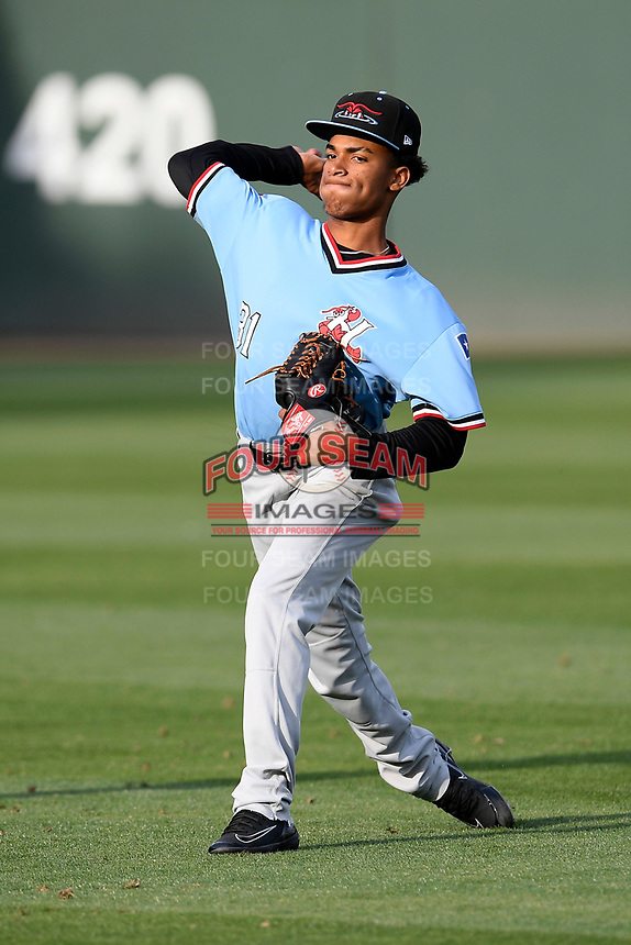 Starting pitcher Ronny Henriquez (31) of the Hickory Crawdads warms up before a game against the Greenville Drive on Wednesday, May 15, 2019, at Fluor Field at the West End in Greenville, South Carolina. Greenville won, 6-5. (Tom Priddy/Four Seam Images)