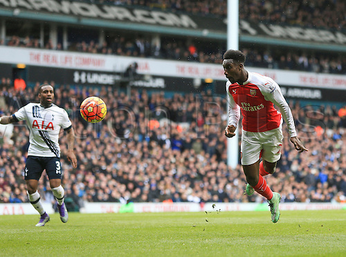 05.03.2016. White Hart Lane, London, England. Barclays Premier League. Tottenham Hotspur versus Arsenal. Danny Welbeck of Arsenal flying header was well saved bt Lloris late in 1st half.