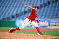 Clearwater Threshers starting pitcher Mauricio Llovera (26) delivers a pitch during a game against the Florida Fire Frogs on June 1, 2018 at Spectrum Field in Clearwater, Florida.  Florida defeated Clearwater 12-10.  (Mike Janes/Four Seam Images)