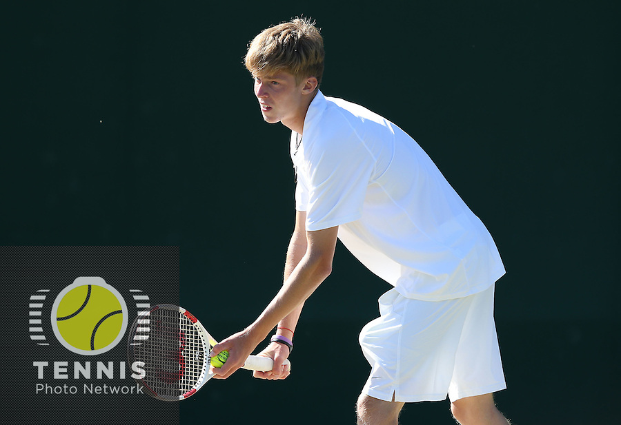 ANDREY RUBLEV (RUS), <br /> <br /> The Championships Wimbledon 2014 - The All England Lawn Tennis Club -  London - UK -  ATP - ITF - WTA-2014  - Grand Slam - Great Britain -  3rd.July 2014<br /> <br /> <br /> &copy; J.Hasenkopf / Tennis Photo Network