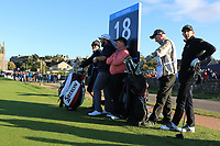 Shane Lowry (IRL) and Gerry McManus (AM) on the 18th tee during Round 3 of the Alfred Dunhill Links Championship 2019 at St. Andrews Golf CLub, Fife, Scotland. 28/09/2019.<br /> Picture Thos Caffrey / Golffile.ie<br /> <br /> All photo usage must carry mandatory copyright credit (© Golffile | Thos Caffrey)