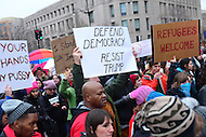 Washington, DC - January 20, 2017: Thousands of protestors descend on the District of Columbia during the inauguration of Donald J. Trump as the 45th President of the United States, January 20, 2017.  (Photo by Don Baxter/Media Images International)