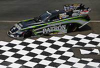 May 29, 2013; Englishtown, NJ, USA: The car of NHRA funny car driver Alexis DeJoria sits parked near the checkered flag winners circle at Raceway Park. Mandatory Credit: Mark J. Rebilas-