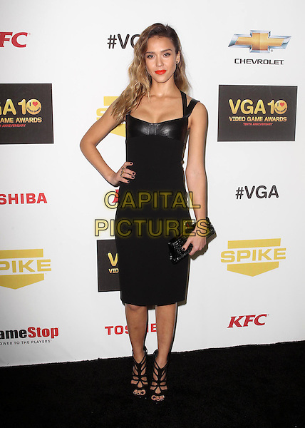 Jessica Alba.Spike TV's 10th Annual Video Game Awardse Held at Sony Pictures Studios,  Culver City, California, USA, .7th December 2012..full length black dress leather hand on hip clutch bag shoes sandals  cut out strappy .CAP/ADM/KB.©Kevan Brooks/AdMedia/Capital Pictures.