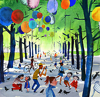 Colourful balloons in avenue of trees in park ExclusiveImage