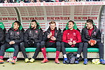 09.02.2019, HDI Arena, Hannover, GER, 1.FBL, Hannover 96 vs 1. FC Nuernberg<br /> <br /> DFL REGULATIONS PROHIBIT ANY USE OF PHOTOGRAPHS AS IMAGE SEQUENCES AND/OR QUASI-VIDEO.<br /> <br /> im Bild / picture shows<br /> Ersatzbank 1. FC N&uuml;rnberg, <br /> Yuya Kubo (Nuernberg #14), Mikael Ishak (Nuernberg #09), Sebastian Kerk (Nuernberg #10), Robert Bauer (Nuernberg #08), Fabian Bredlow (Nuernberg #01), <br /> <br /> Foto &copy; nordphoto / Ewert