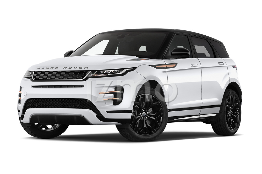 Stock pictures of low aggressive front three quarter view of 2019 Land Rover Range-Rover-Evoque Dynamic 5 Door SUV Low Aggressive