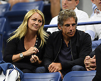 FLUSHING NY- SEPTEMBER 06: Christine Taylor and Ben Stiller are seen watching Novak Djokovic Vs Jo Wilfred Tsonga on Arthur Ashe Stadium at the USTA Billie Jean King National Tennis Center on September 6, 2016 in Flushing Queens. Credit: mpi04/MediaPunch
