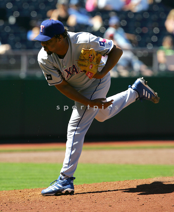 Francisco Cordero, of the Texas Rangers , in action against the Kansas City Royals on June 5, 2005...Rangers win 8-1...Dilip Vishwanat / SportPics