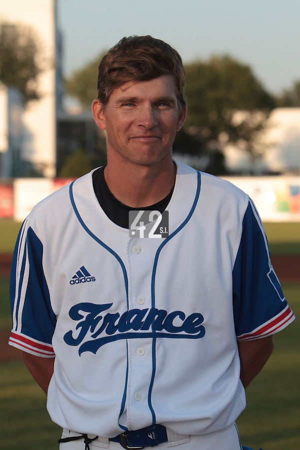 21 August 2010: Team manager Boris Rothermundt of Team France is seen prior to Russia 13-1 win in 7 innings over France, at the 2010 European Championship, under 21, in Brno, Czech Republic.