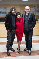 Actors Concha Velasco, Lluis Homar (R) and Yon Gonzalez (L) pose during the `Bajo sospecha´ TV Show presentation in Madrid, Spain. January 11, 2016. (ALTERPHOTOS/Victor Blanco)