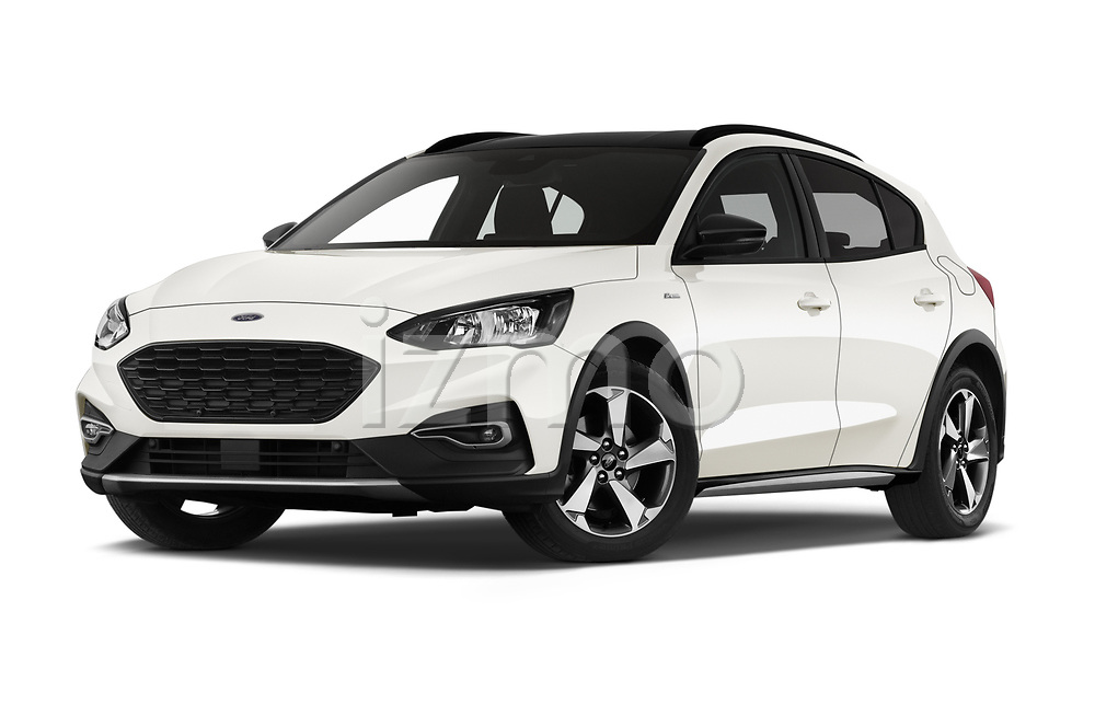Stock pictures of low aggressive front three quarter view of 2019 Ford Focus Active 5 Door Hatchback Low Aggressive