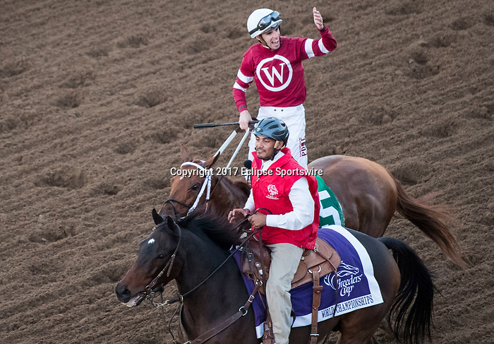DEL MAR, CA - NOVEMBER 04: Florent Geroux, aboard Gun Runner #5, celebrates after winning the Breeders' Cup Classic on Day 2 of the 2017 Breeders' Cup World Championships at Del Mar Thoroughbred Club on November 4, 2017 in Del Mar, California. (Photo by Ting Shen/Eclipse Sportswire/Breeders Cup)