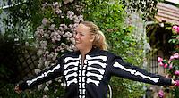 "26-05-11, Tennis, France, Paris, Roland Garros ,   Caroline Wozniaki showing her "" BONES"" suit"