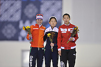 SPEED SKATING: SALT LAKE CITY: 20-11-2015, Utah Olympic Oval, ISU World Cup, Podium 500m B-Division, Marrit Leenstra (NED), Min-Sun Kim (KOR), Qishi Li (CHN), ©foto Martin de Jong