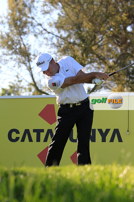 Thomas Levet (FRA) on the 13th tee during Thursday's Round 1 of The Open De Espana at The PGA Catalunya Resort. 15th May 2014.<br /> Picture:  Thos Caffrey / www.golffile.ie