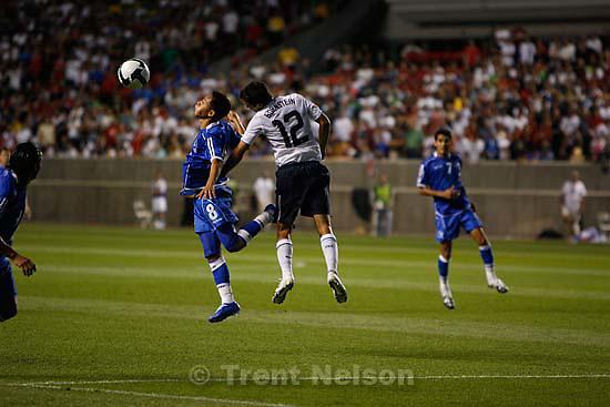 Sandy - El Salvador midfielder Osael Romero (8) and USA defender Jonathan Bornstein. USA vs. El Salvadar FIFA World Cup Qualifier Soccer Saturday, September 5 2009 at Rio Tinto Stadium. .