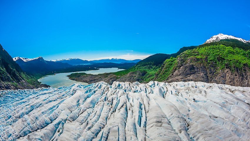 Aerial view, Mendenhall Glacier (with Mendenhall Lake in background), near Juneau, Alaska USA.