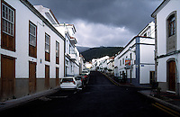 Street scene before storm in a mountain town in Tenerife, Spain