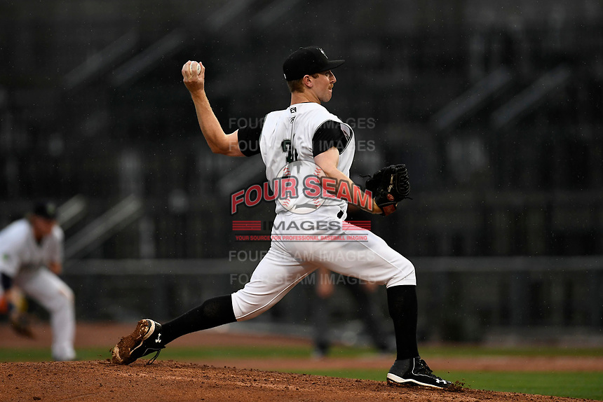 Domenic Mazza (34) of the Augusta GreenJackets with the South team pitches during the South Atlantic League All-Star Game on Tuesday, June 20, 2017, at Spirit Communications Park in Columbia, South Carolina. The game was suspended due to rain after seven innings tied, 3-3. (Tom Priddy/Four Seam Images)