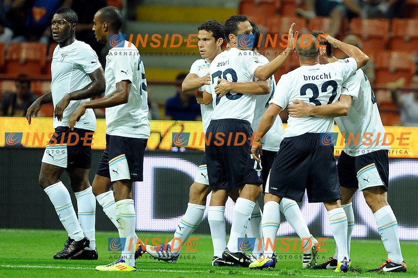 "Miroslav Klose of Lazio celebrates scoring goal 0-1.Citta' 9/9/2011 Stadio ""Giuseppe Meazza"".Serie A 2011/2012.Football Calcio Milan Vs Lazio.Foto Insidefoto mr."