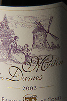 Moulin des Dames Bergerac sec Famille de Conti, detail of label showing the wind mill and two ladies in frocks Bergerac Dordogne France