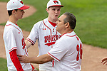 MIDDLETOWN, CT. 06 June 2018-060618BS567 - Wolcott Assistant coach Ronnie Gambino (26) gives his pitcher Wolcott's Brett Adams (4) a pep talk during the CIAC Tournament Class M Semi-Final baseball game between Ledyard and Wolcott at Palmer Field on Wednesday afternoon. Wolcott beat Ledyard 9-4 and advances to the Class M final this weekend. Bill Shettle Republican-American