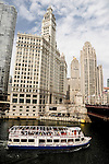 River and skyline, including the Wrigley Building in Chicago, Illinois. The city is the third largest city in the U.S. and is a worldwide center of commerce.