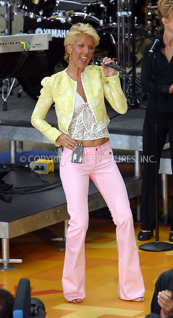 """Canadian songbird Celine Dion is in New York to promote her latest album and to perform on NBC's """"Today"""" Show. New York, July 10, 2003. Please byline: NY Photo Press.   ..*PAY-PER-USE*      ....NY Photo Press:  ..phone (646) 267-6913;   ..e-mail: info@nyphotopress.com"""
