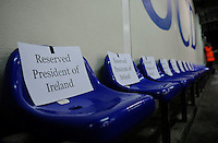27th October 2014; SSE Airtricity League Promotion Playoff, Leg 1, UCD v Galway FC, UCD Bowl, Belfield, Dublin. Picture credit: <br /> General view of seats reserved for President of Ireland Michael D Higgins<br /> Tommy Grealy/actionshots.ie.