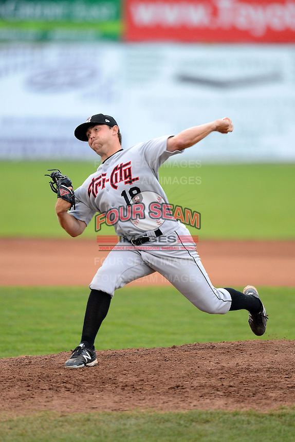 Tri-City ValleyCats pitcher Albert Minnis (18) during a game against the Batavia Muckdogs on July 13, 2013 at Dwyer Stadium in Batavia, New York.  Tri-City defeated Batavia 5-4.  (Mike Janes/Four Seam Images)