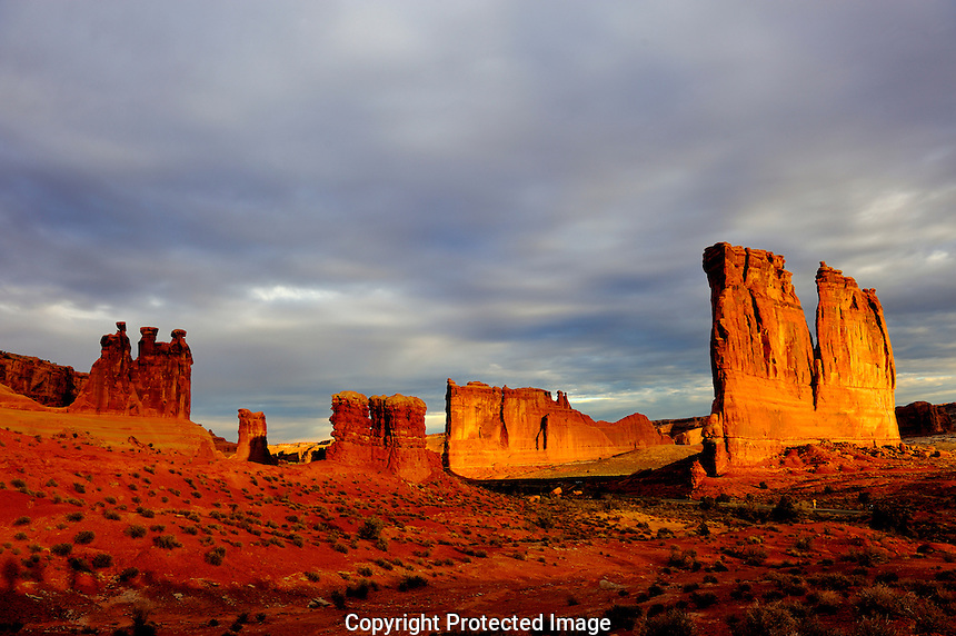 The Three Gossips & Courthouse Tower, Arches National Park, Utah