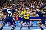 Vladan LIPOVINA (#5 Rhein-Neckar Loewen) \Martin MARCEC (#73 SG Bietigheim)\Vetle RONNINGEN (#19 SG Bietigheim)\ beim Spiel in der Handball Bundesliga, SG BBM Bietigheim - Rhein Neckar Loewen.<br /> <br /> Foto &copy; PIX-Sportfotos *** Foto ist honorarpflichtig! *** Auf Anfrage in hoeherer Qualitaet/Aufloesung. Belegexemplar erbeten. Veroeffentlichung ausschliesslich fuer journalistisch-publizistische Zwecke. For editorial use only.