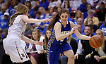 RAPID CITY, SD - MARCH 18, 2017 -- Rylee Benson #5 of Sioux Falls O'Gorman drives on Bailey Pickering #10 of Harrisburg during the 2017 South Dakota State Class AA Girls Basketball Championship game Saturday at Barnett Arena in Rapid City, S.D.  (Photo by Dick Carlson/Inertia)