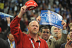 John McCain supporters cheer on the floor of the XCel Center during the second day of the Republican National Convention in St. Paul, Minnesota on September 2, 2008.