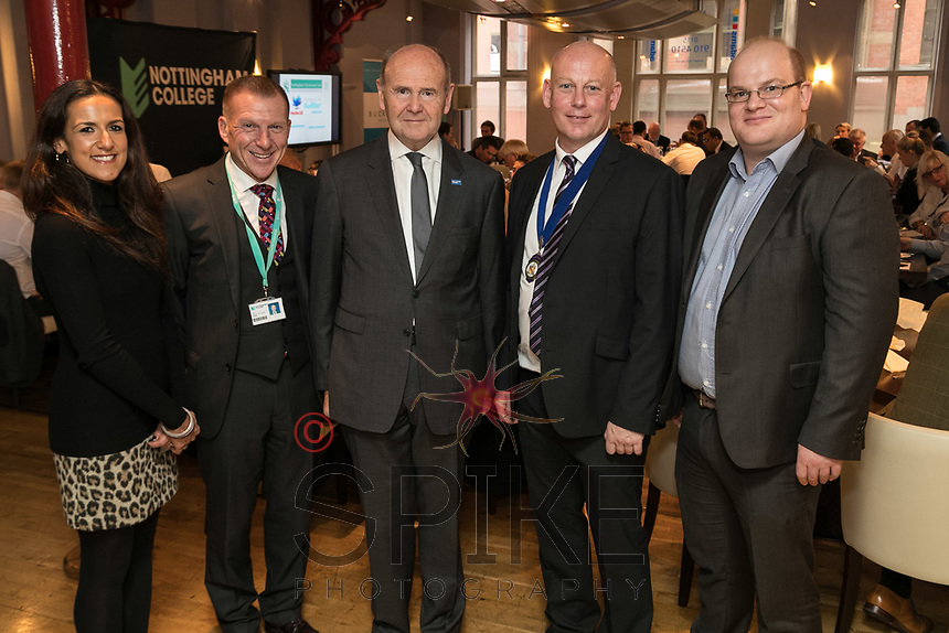 From left are Nikki Aston of sponsors Buckles, John Van de Laarschot of Nottinghm College, Sir John Peace, Lord Lieutenant of Nottinghamshire, Ian Roberts, NCBC President and Ewan Carr of sponsors Buckles