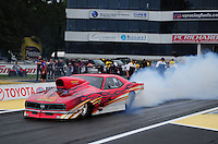 Jun. 1, 2012; Englishtown, NJ, USA: NHRA pro mod driver Vinny Budano during qualifying for the Supernationals at Raceway Park. Mandatory Credit: Mark J. Rebilas-