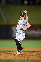 Birmingham Barons relief pitcher Ian Hamilton (29) delivers a pitch during a game against the Pensacola Blue Wahoos on May 8, 2018 at Regions FIeld in Birmingham, Alabama.  Birmingham defeated Pensacola 5-2.  (Mike Janes/Four Seam Images)
