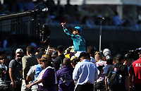 DEL MAR, CA - NOVEMBER 04: Joel Rosario, aboard Stormy Liberal #4 celebrates after winning the Breeders' Cup Turf Sprint race on Day 2 of the 2017 Breeders' Cup World Championships at Del Mar Racing Club on November 4, 2017 in Del Mar, California. (Photo by John Durr/Eclipse Sportswire/Breeders Cup)