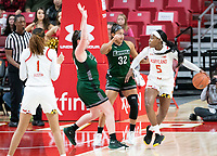 COLLEGE PARK, MD - DECEMBER 8: Kaila Charles #5 of Maryland keeps the ball from Hannah Niles #32 of Loyola during a game between Loyola University and University of Maryland at Xfinity Center on December 8, 2019 in College Park, Maryland.