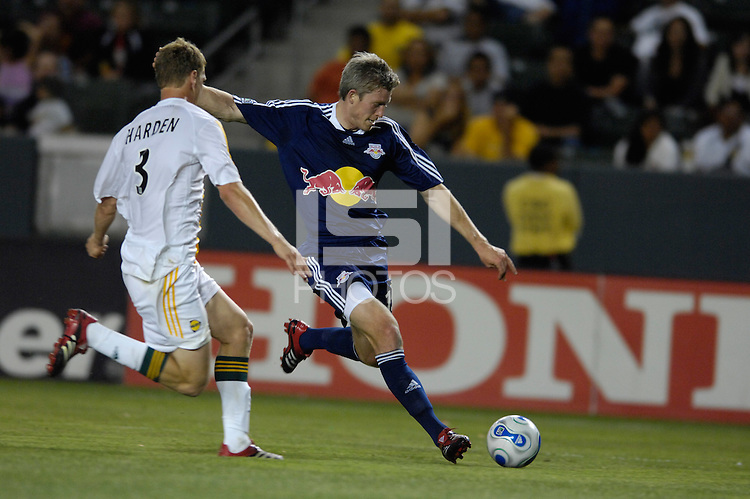 New York Red Bulls' John Wolyniec takes a shot against the L.A. Galaxy in the first half of US Open Cup qualifying at the Home Depot Center in Carson, CA on Tuesday, May 8, 2007.