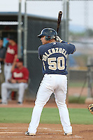 Ricardo Valenzuela #50 of the AZL Padres bats against the AZL Diamondbacks at the Peoria Sports Complex on July 7, 2014 in Peoria, Arizona. AZL Padres defeated the AZL Diamondbacks, 9-4. (Larry Goren/Four Seam Images)