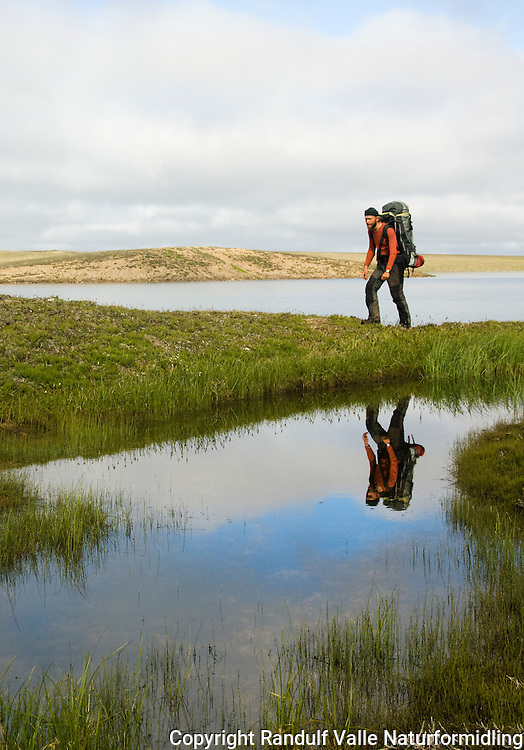 Mann med ryggsekk går til fots på tundraen i Canada. ---- Man with backpack on foot on the canadian tundra.